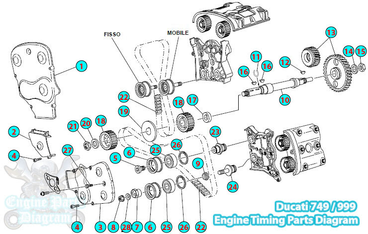2006 Ducati 749 / 999 Engine Timing Parts Diagram