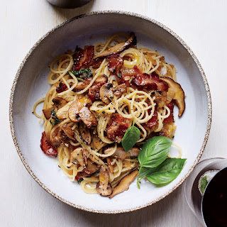 Spaghettini with Warm Bacon-Mushroom Vinaigrette.