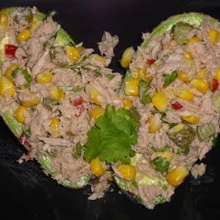 Healthy Mexican Inspired Tuna Stuffed Avocado.