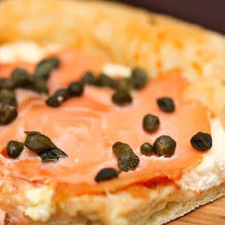 Lox Lovers Bagel Pizza.