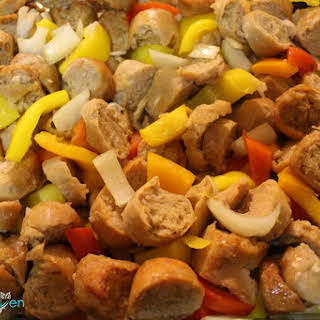 Baked Turkey Sausage and Peppers.