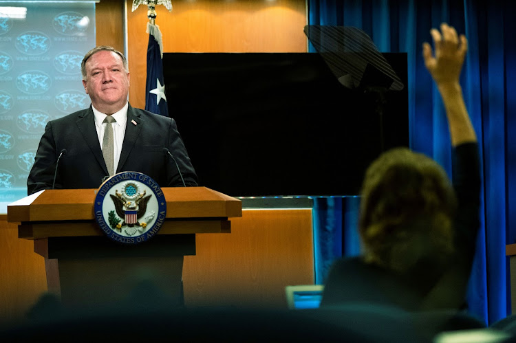U.S. Secretary of State Mike Pompeo speaks during a news conference at the State Department in Washington, U.S., July 1, 2020. Manuel Balce Ceneta/Pool via REUTERS