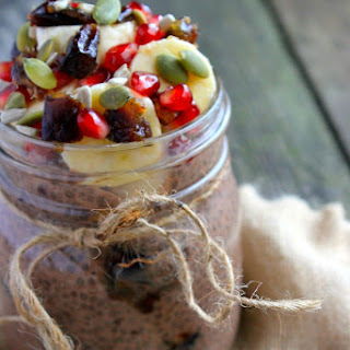 Chocolate & Date Chia Pudding with Banana & Pomegranate Topping