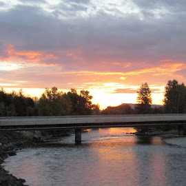 BRIDGE OVER YAKIMA RIVER by Cynthia Dodd - Novices Only Landscapes ( water, sky, sunset, beautiful, trees, bridge, river )