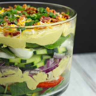 Creamy Deviled Egg Layered Pasta Salad.