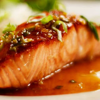 Pan Seared Glazed Salmon with Honey and Soy.