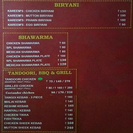 Kareem's Biriyani Paradise menu 8