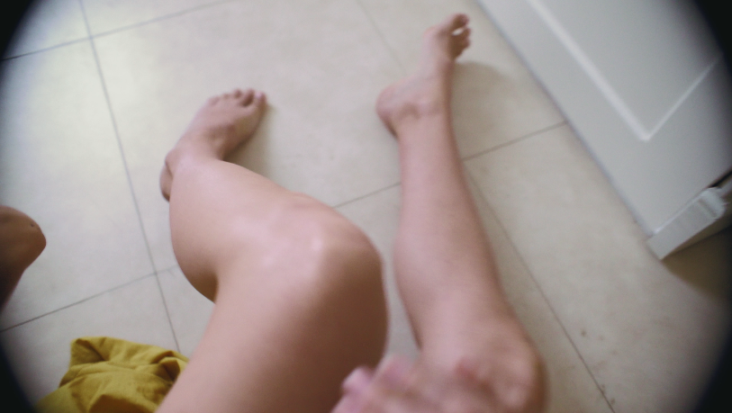 POV style show conveying what the lead character can see of her legs.