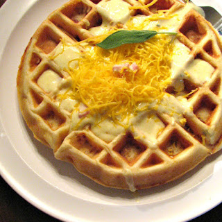 Savory Ham, Cheese and Sage Waffles with Creamy Ham and Mustard Gravy