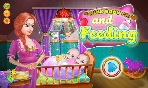 雙胞胎嬰兒餵養遊戲