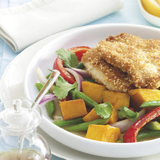 Sesame-Crusted Pork Chops with Roasted Squash Salad.