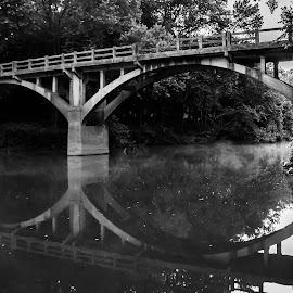 Early Morning Reflection  by Loren Holloway - Buildings & Architecture Bridges & Suspended Structures ( reflection, arkansas, black&white, bridge, river, landscape )