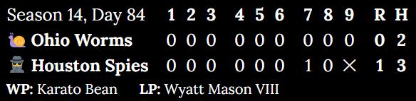 Final score of Season 14, Day 84. Ohio Worms versus Houston Spires. Worms 0- Spries 1.