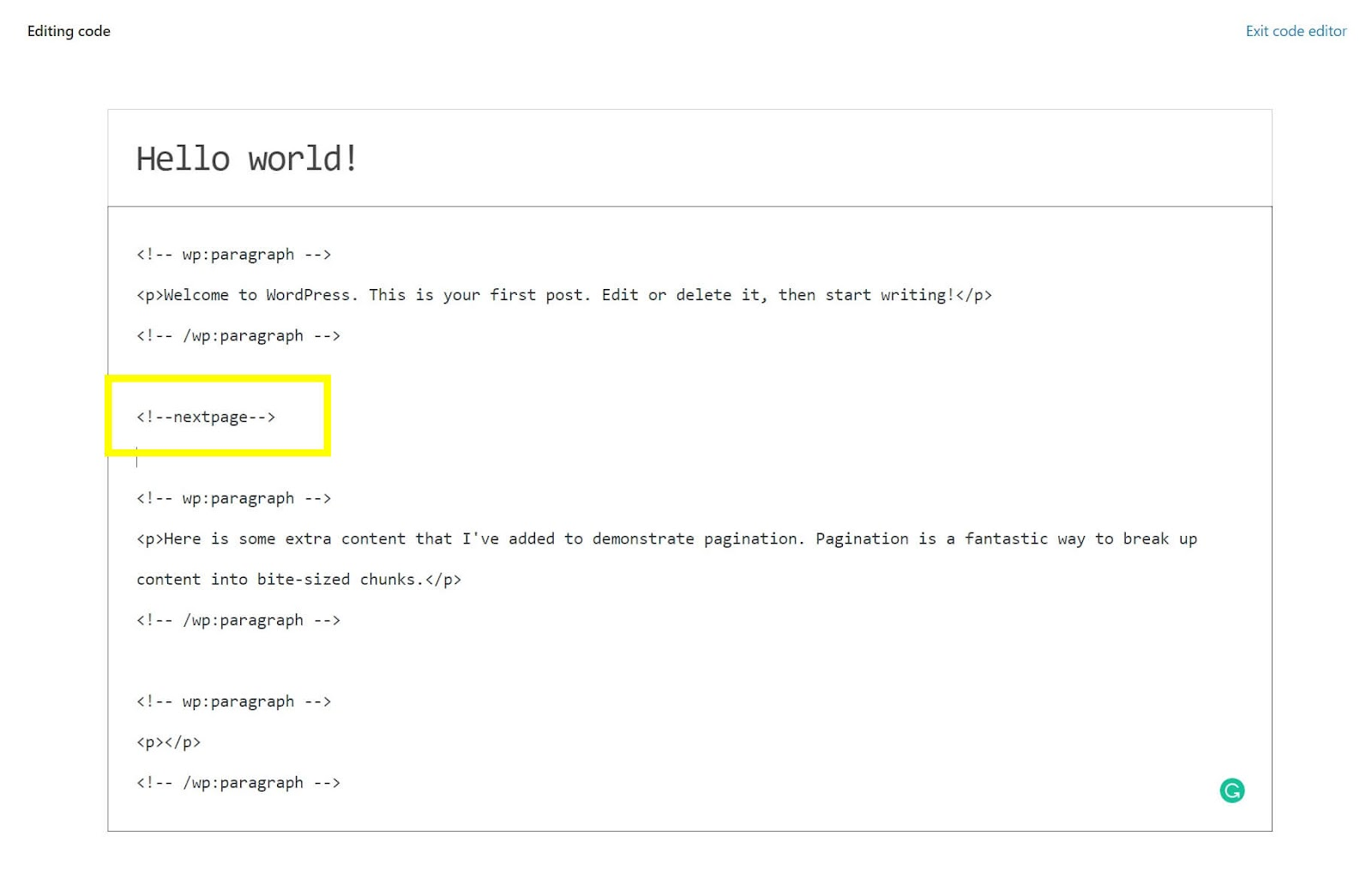 Image of how to add next page code to paginate in WordPress