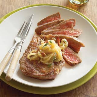 Rib-eyes with Beer-Onion Relish.