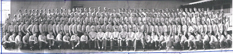 Photo: This pictures shows 177 original C Company men and officers. It does not show the men who were on liberty or in sick bay. Shortly thereafter, D Company was eliminated and heavy weapons was added to each company in 1st Battalion so men from the original D Company were added to A Company, B Company, and C Company each. C Company received 60 men. Taken in 1943.