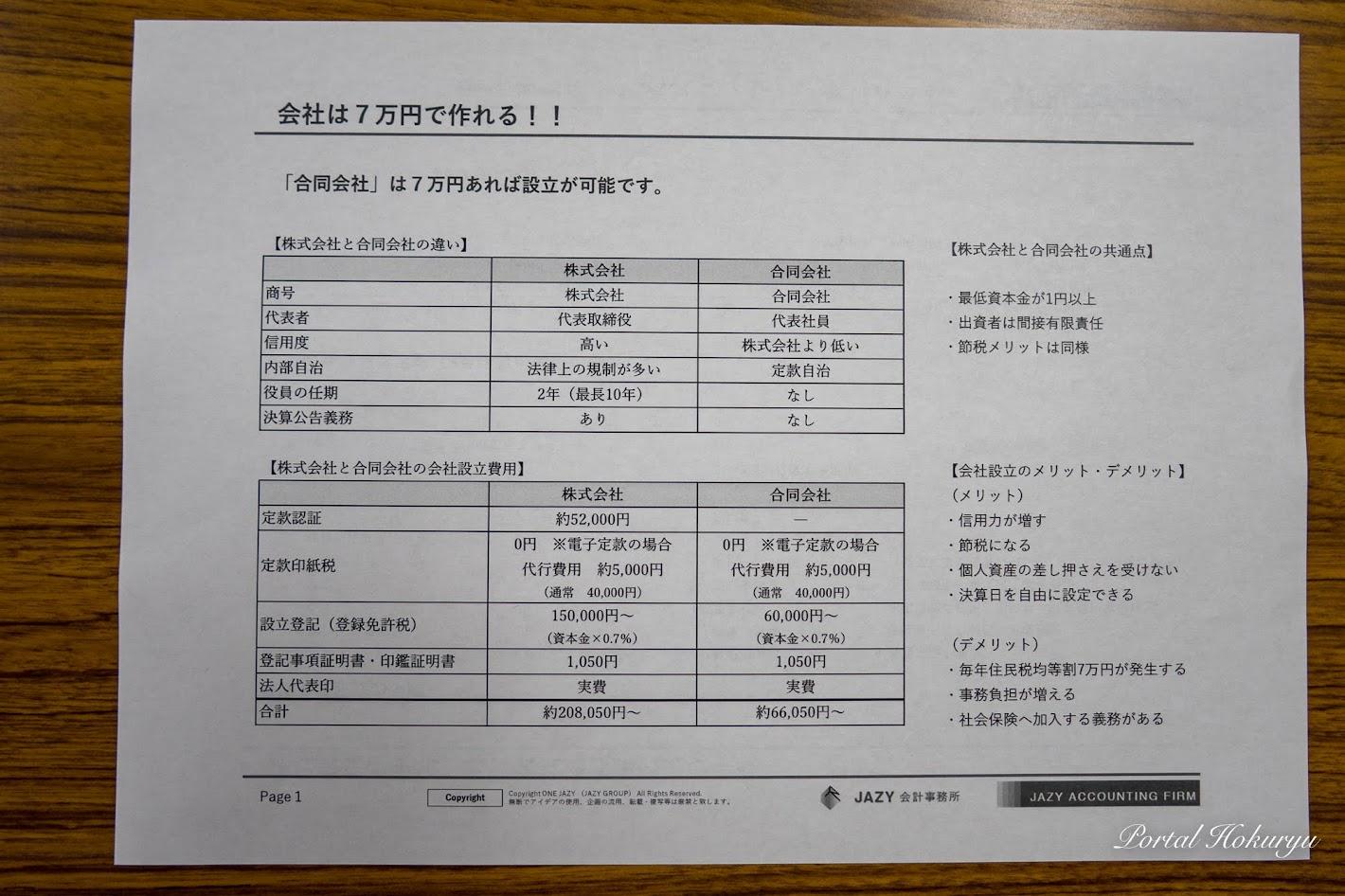 会社は7万円で作れる!!