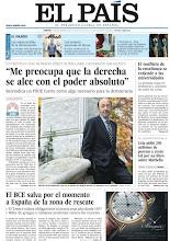 """Photo: Entrevista con Alfredo Pérez Rubalcaba: """"Me preocupa que la derecha se alce con el poder absoluto"""". Este y otros temas, en nuestra portada del viernes 19 de noviembre http://www.elpais.com/static/misc/portada20111118.pdf"""