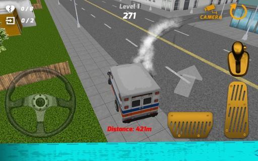 救急車のシミュレーター3D