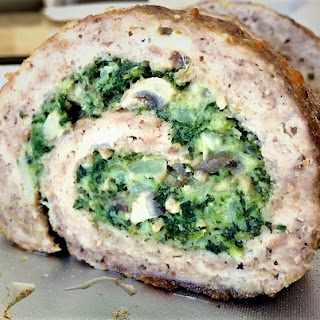 Spinach and Mushroom Filled Pinwheel Meatloaf.