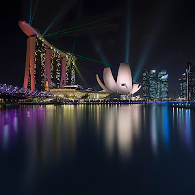 night scene over MBS  by Sherry Zhao - City,  Street & Park  Night ( reflection, night scene, marina bay sands, long exposure, cityscape, singapore, nightscape )
