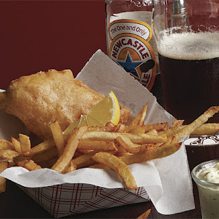 Fish and Chips with Tartar Sauce.