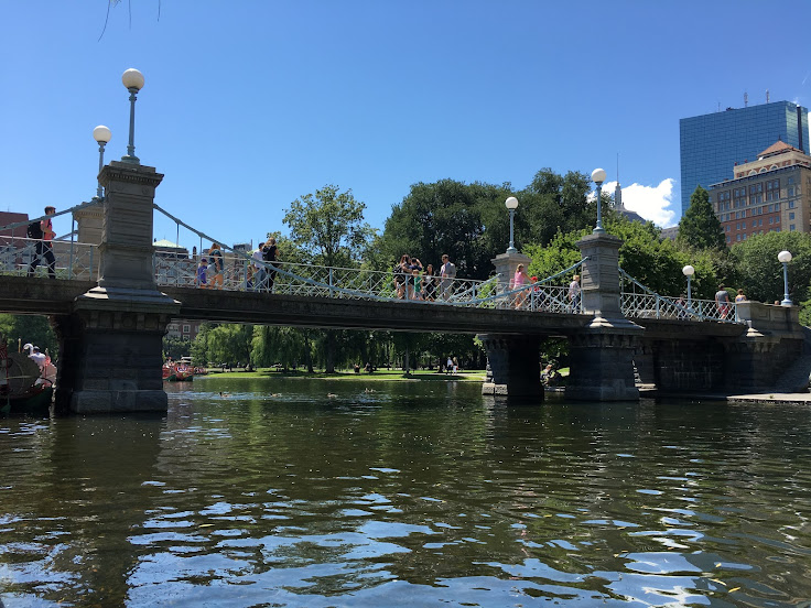The bridge over the lagoon in the Boston Garden.