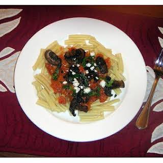 Pasta With 3 Mushroom Tomato Sauce.