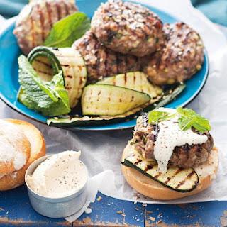 Valli Little's lamb, zucchini and haloumi burgers with sesame salt.