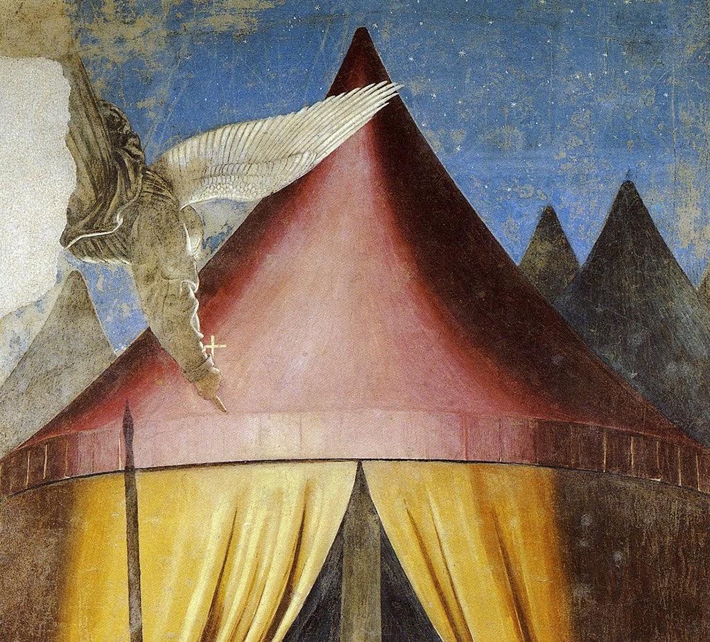 Piero della Francesca, Sogno di Costantino (De droom van Constantijn), particolare dell'angelo, che appare di spalle con una suggestiva illuminazione in controluce, le Storie della Vera Croce, Basilica di San Francesco, Arezzo