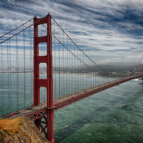 The Golden Gate Bridge by Craig Turner - Buildings & Architecture Bridges & Suspended Structures ( golden gate bridge, ca, mountain, travel, beach, sky, nature, tree, snow, tropical ocean, grass, horizon, journey, forest, lake, golden gate, sunlight, rural, vacation, dawn, season, scene, view, natural, panoramic, ocean, beauty, landscape, panorama, sun, tranquil, evening, water, desert, park, hdr, beautiful, sea, paradise, amazing, color, blue, sunset, outdoor, background, summer, cloud, scenery, sunrise, logy, eco )
