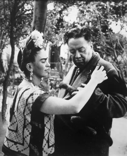 "Frida and Diego with their pet monkey ""Caimito del Guayabal"""