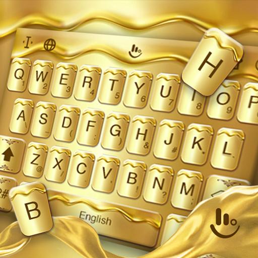 Golden Liquid Keyboard Theme