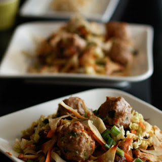 Asian Chopped Cabbage and Mushroom Salad With Panfried Wonton Crisps.