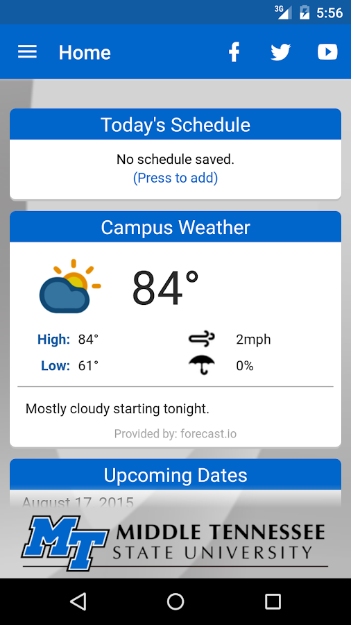 MTSU Mobile- screenshot