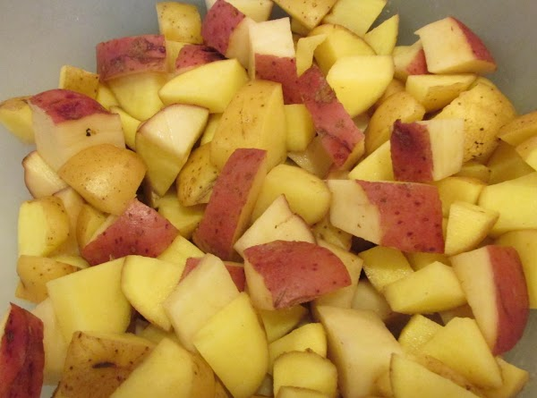 Wash potatoes and cut into quarters for the smaller ones, and eights for the...
