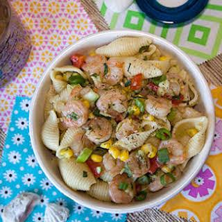 Shrimp and Veggie Pasta Salad with Lemon-Herb Vinaigrette.