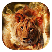 Fiery lion live wallpaper