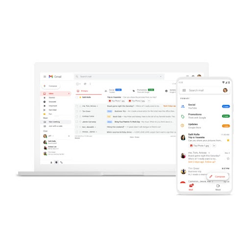 A laptop and phone featuring Gmail