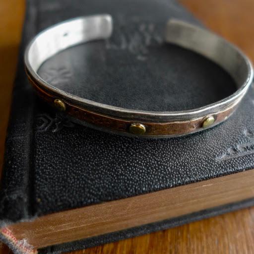 """le """"Cooper""""le """"Cooper"""" bracelet argent 925 parementure cuivre rivets argent ou bronze"""