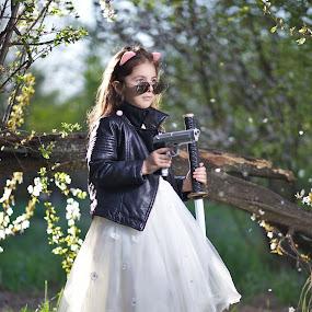 Beware by Nicu Buculei - Babies & Children Child Portraits ( girl, dress, white, children, kids, portrait )