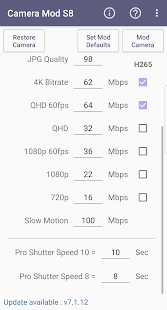Camera Mod S8 - Bitrate & Settings [ROOT] Screenshot