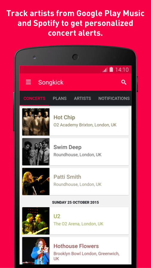 Songkick Concerts- screenshot