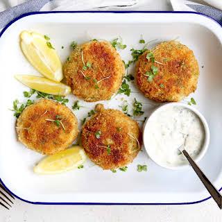 Fish Cakes with Quick Lemon Tartare Sauce.