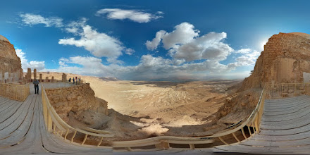 Photo: Masada (4 of 5) - Herod built a three-tier palace on the north end of Masada. This is a view from the bottom tier, which was used for banquets. Look for the dead sea in the distance, and the two upper levels of the palace.