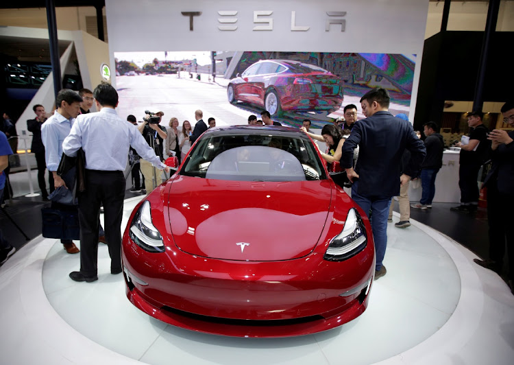 A Tesla Model 3 car at the Auto China 2018 motor show in Beijing, China. Picture: REUTERS/JASON LEE