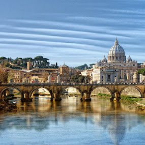 Ponte Sant'Angelo and St. Peter's Basilica at the foreground. by Davis L. Antonio - Landscapes Travel ( pwcreflections )