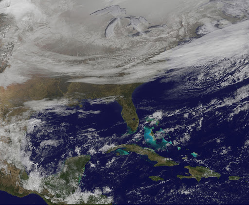 Satellite Picture Shows the Snow-covered U.S. Deep Freeze
