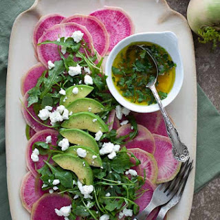 Carpaccio of Watermelon Radishes with Arugula and Citrus Avocado Vinaigrette