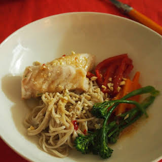 Simple Soba Noodle And Fish Dinner.